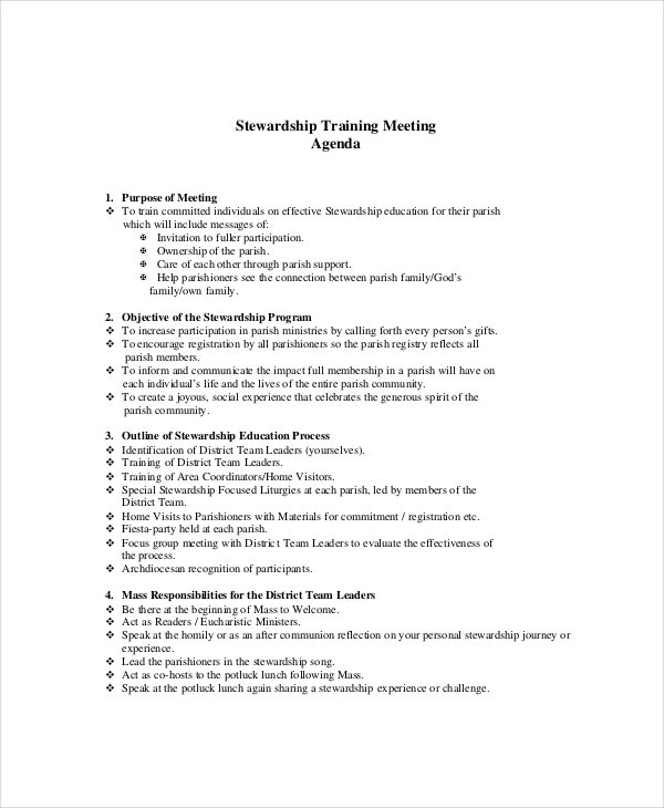 Example Education/Training Meeting Agenda  Creating An Agenda Template