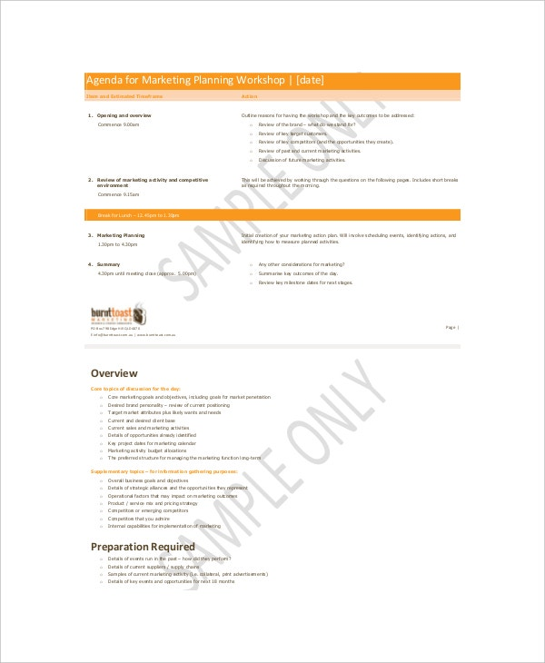 Agenda For Marketing Planning Workshop Sample
