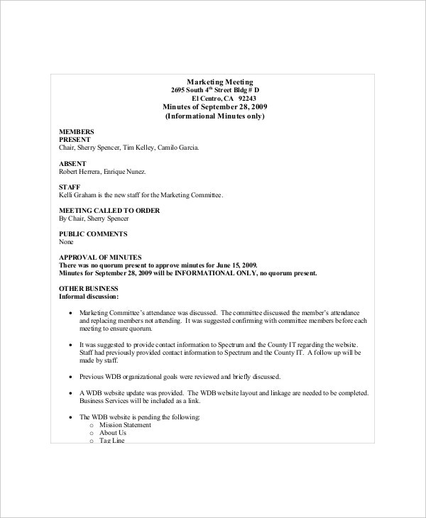 example marketing committee meeting agenda minute