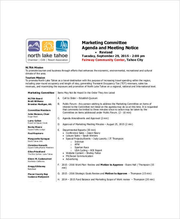 Marketing Meeting Agenda Templates  Free Sample Example