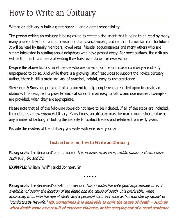 Writing template 15 free word pdf documents download for Obituary guide template