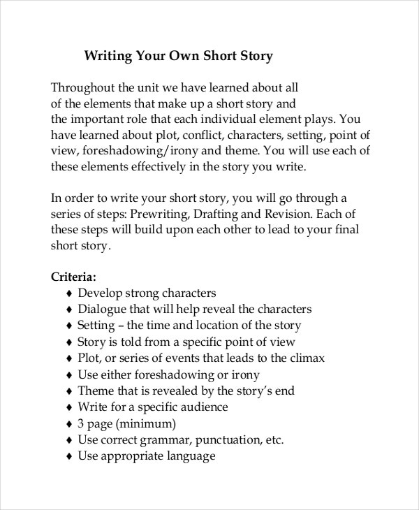 short story creative writing unit