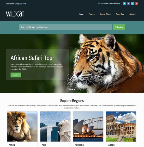 Wild Travel & Booking WordPress Theme $59