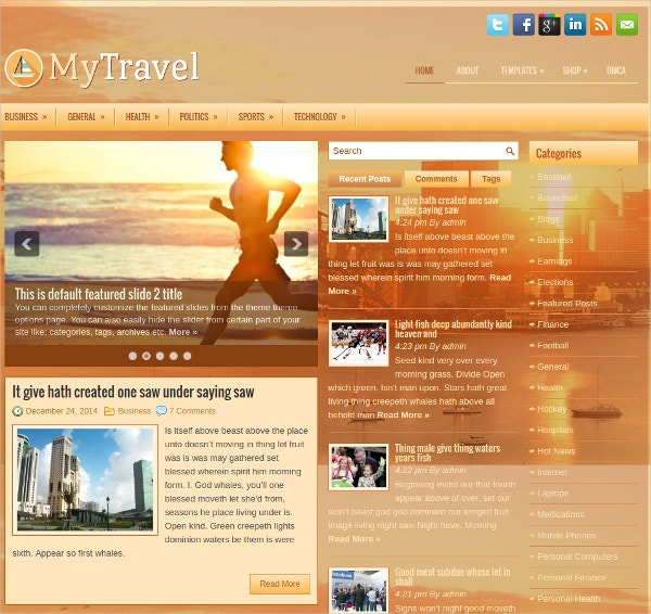 my travel free responsive wordpress theme
