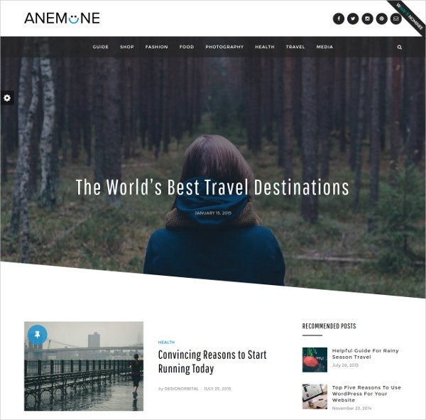 Travel Magazine WordPress Theme $75