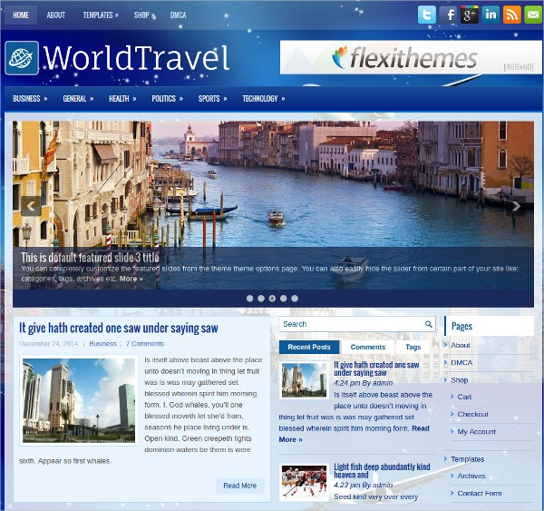 world travel free responsive wordpress theme
