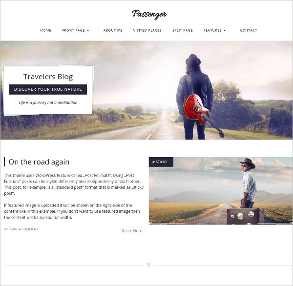 Passenger Travelers WordPress Theme $59