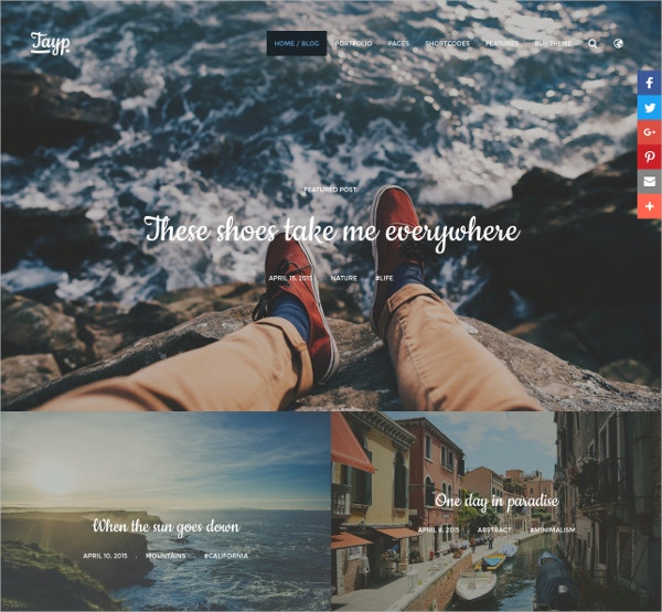 Travel WordPress Blogging Theme $39