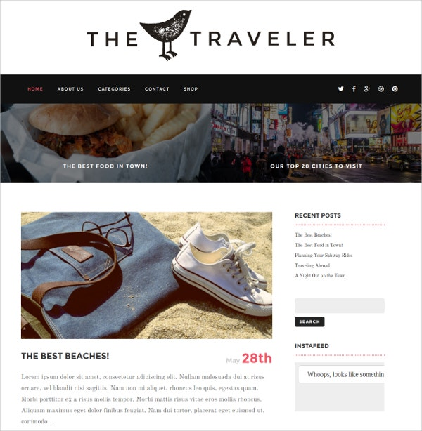 Responsive Blog News WordPress Travel Theme $49