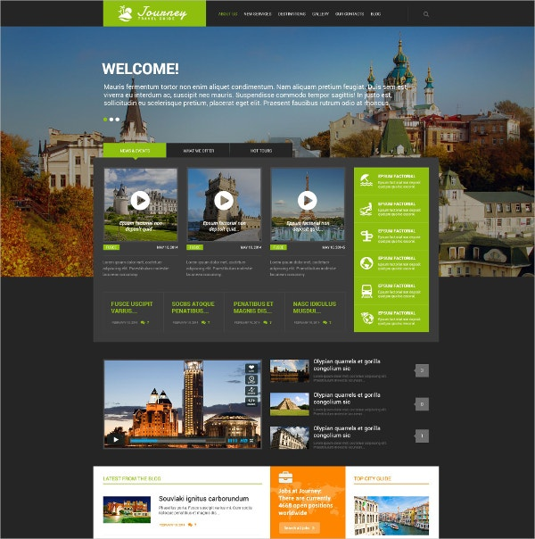 Responsive Travel Guide WordPress Theme $75