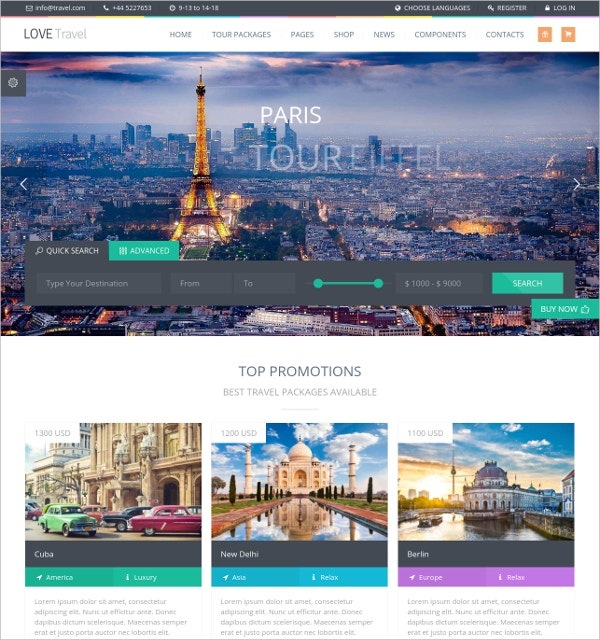 Love Travel Agency WordPress Theme $49