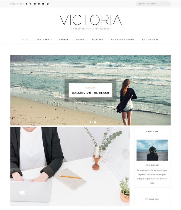 Travel Responsive Blog WordPress Theme $25