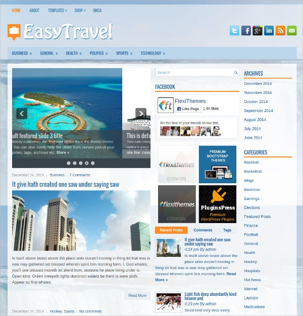 Easy Travel Free Responsive WordPress Theme