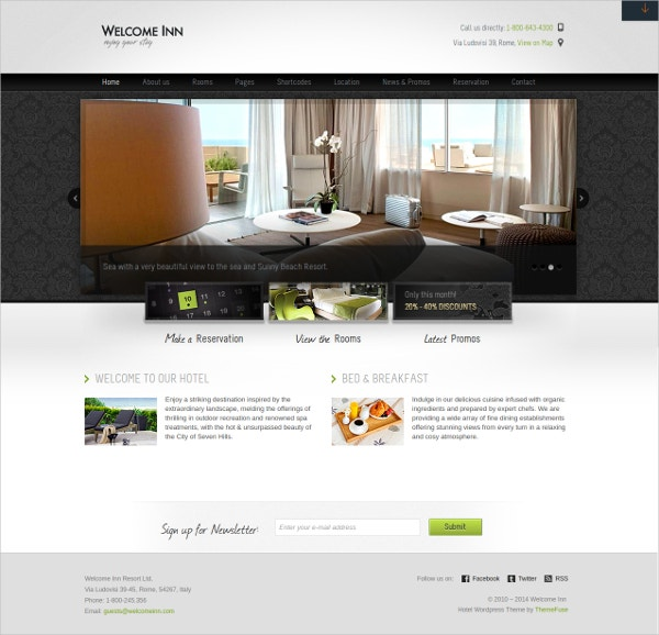 travel hotel wordpress theme