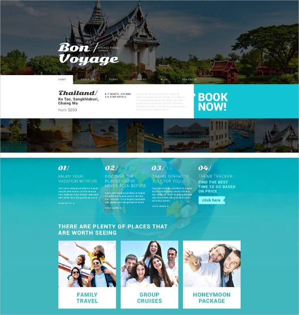 Tour & Travel Services WordPress Theme $75