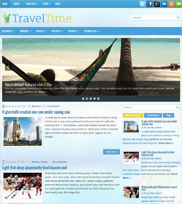 travel time free responsive wordpress theme