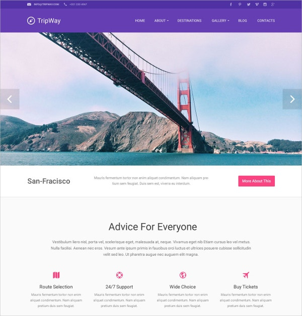 Creative Travel Agency WordPress Theme $75