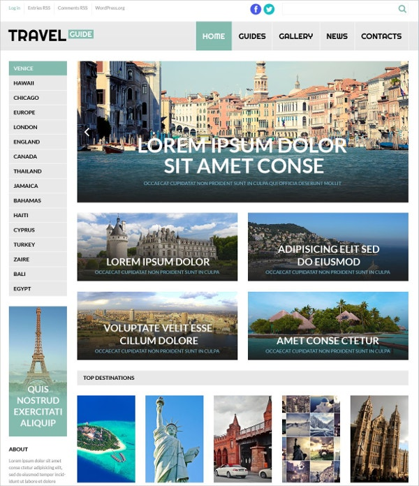 World Travel Guide WordPress Theme $75