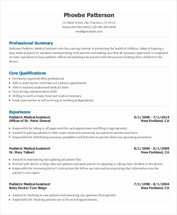 Pediatric Medical Assistant Resume Template For Free