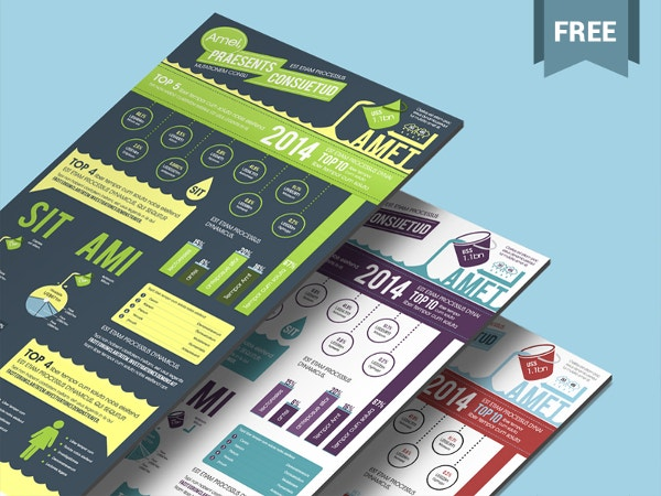 free infographics psd template in aqua theme