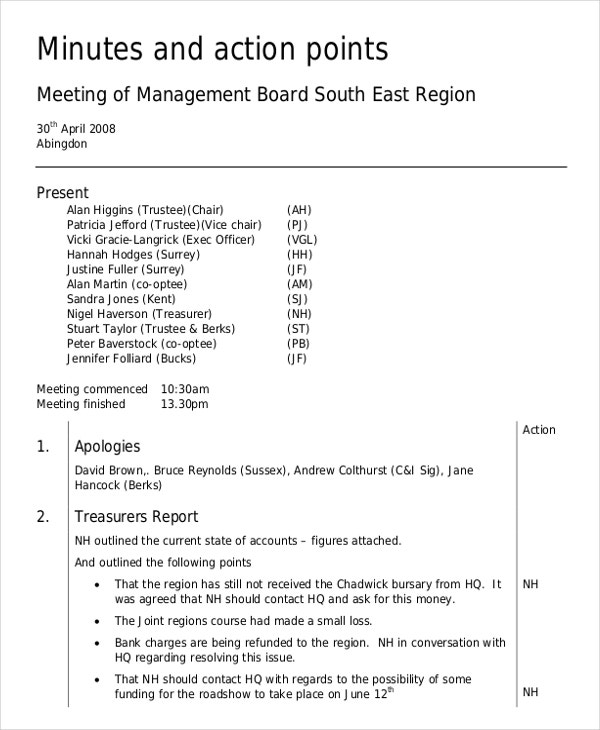 Board minutes template 10 free word pdf documents for How to take minutes at a board meeting template