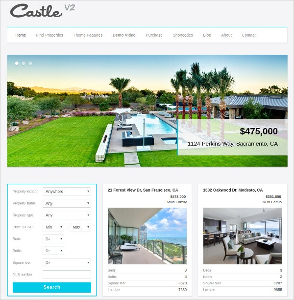 Real Estate Property WordPress Theme $39