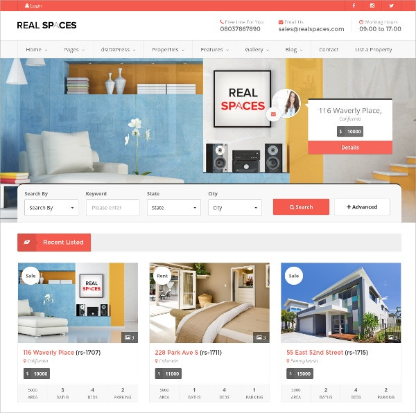 WordPress Real Estate Rental Theme $49