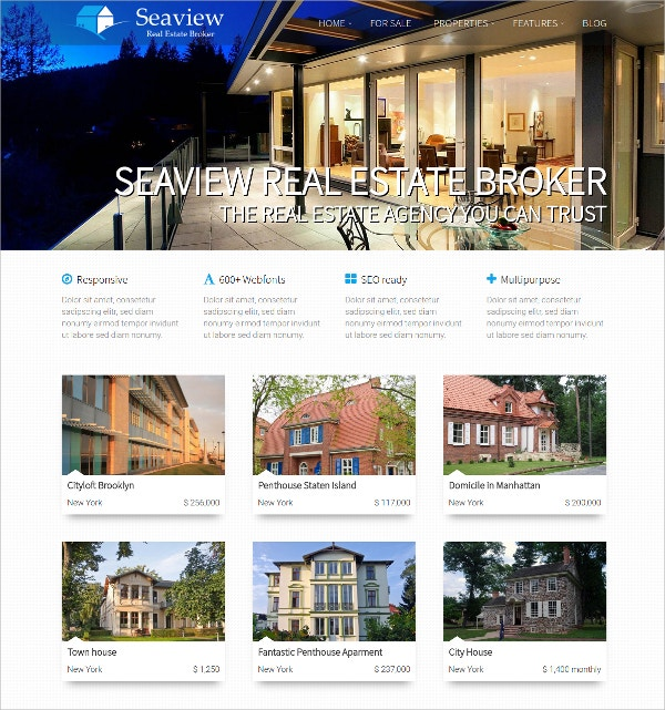 Responsive WordPress Real Estate Theme $49