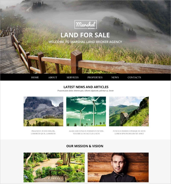 Real Estate Land Brokers Website Template $69