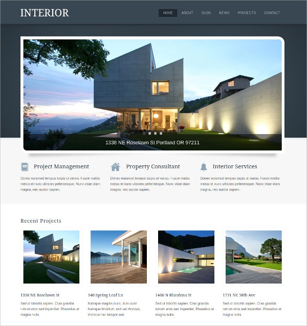 Interior RealEstate WordPress Theme $49