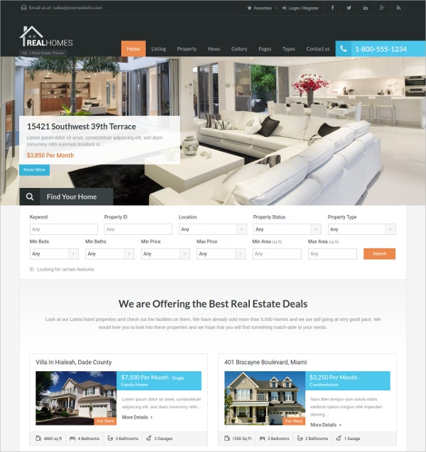 Corporate WordPress Real Estate Theme $59