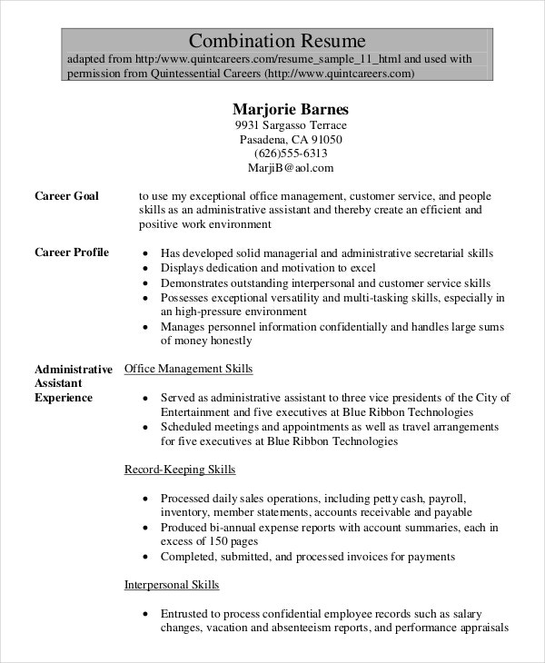 Senior Administrative Assistant Combination Resumes  Administrative Assistant Resume Skills