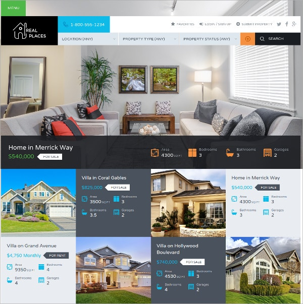 Premium WordPress Real Estate Theme $59