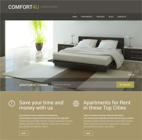 Real Estate Rent For Apartment WordPress Website Theme $75