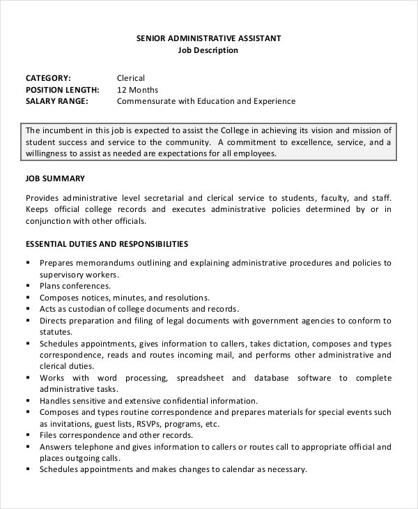 Job Application Resume For SeniorExecutive Administrative Assistant  Administrative Assistant Responsibilities