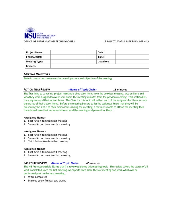 10 Project Meeting Agenda Templates Free Sample Example Format – Template of Meeting Agenda