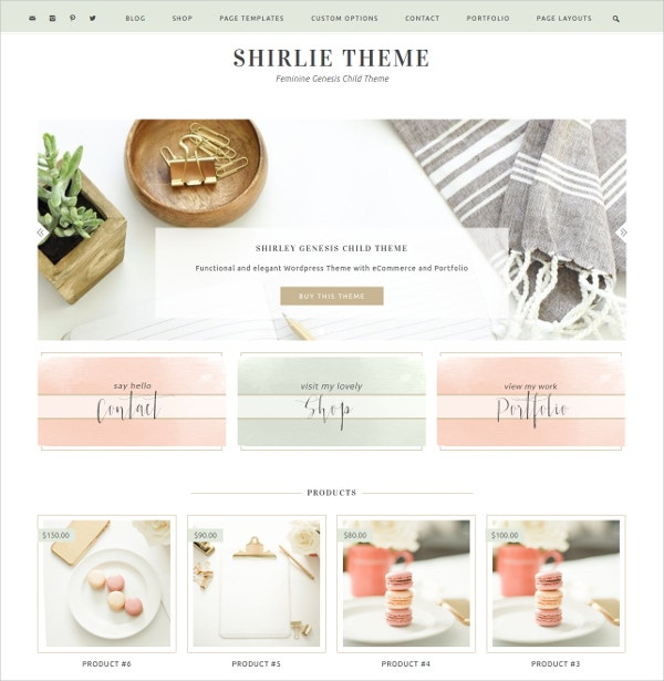 Ecommerce Feminine Website Theme $65