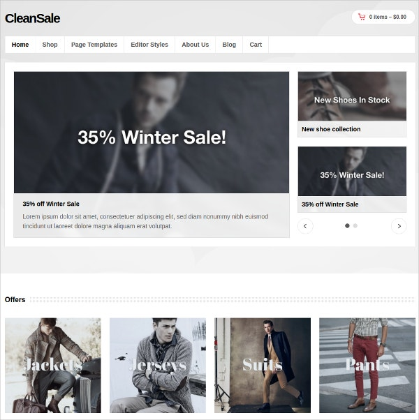 Men's Store WordPress eCommerce Website Theme $59