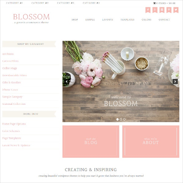 eCommerce Blogger Website Theme $59