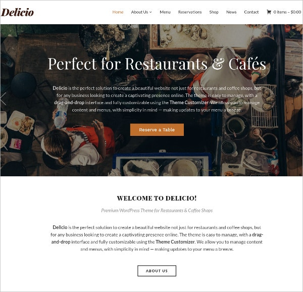 Delicioius Food eCommerce WordPress Website Theme