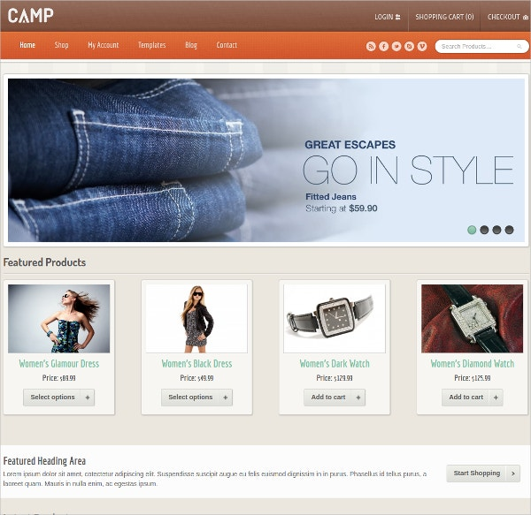 Responsive Catalog eCommerce Website Theme $59