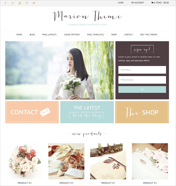 Creative eCommerce Feminine Website Theme $55