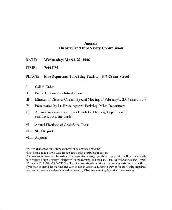 Example Fire Safety Meeting Agenda Template  Agenda Examples Templates