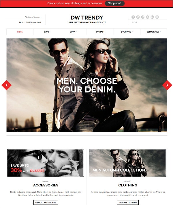 Trendy eCommerce WordPress Website Theme $49