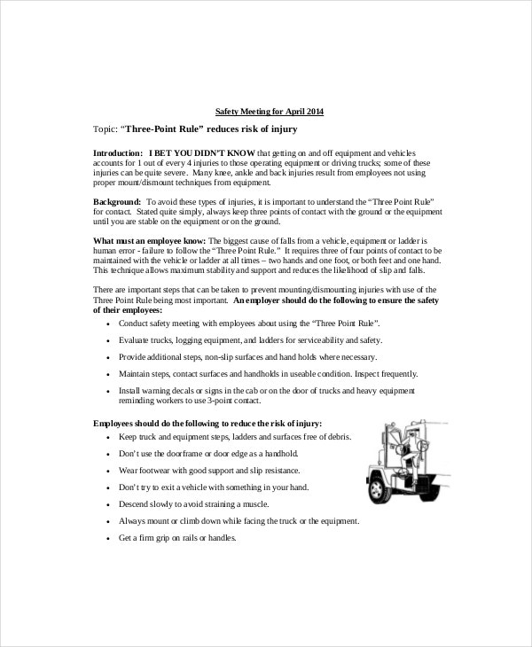 vehicle safety meeting agenda example