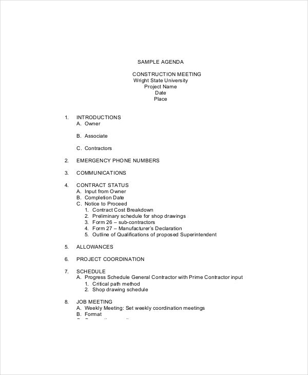 sample construction safety meeting agenda template