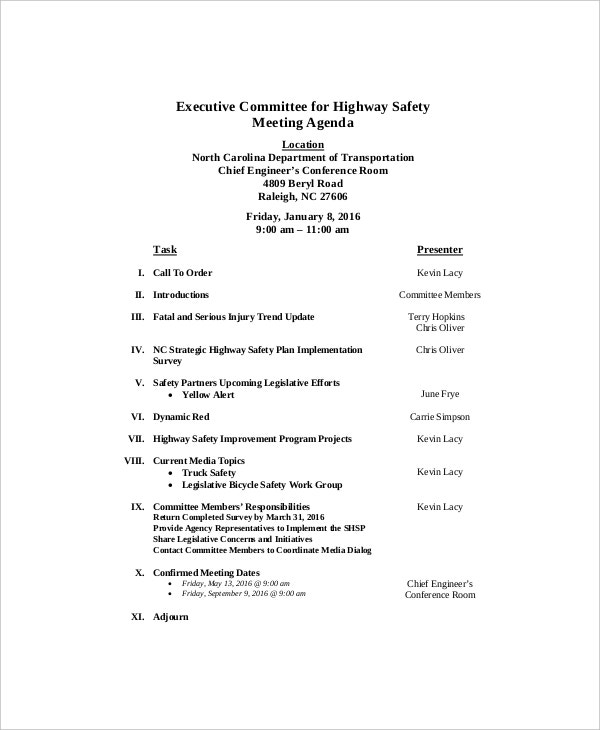 example executive committee for highway safety meeting agenda