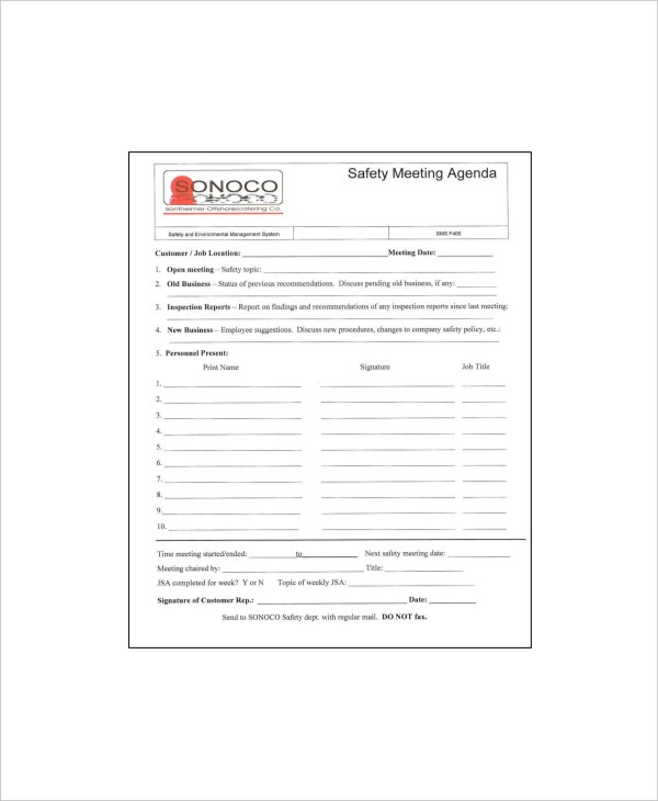 safety meeting agenda form sample