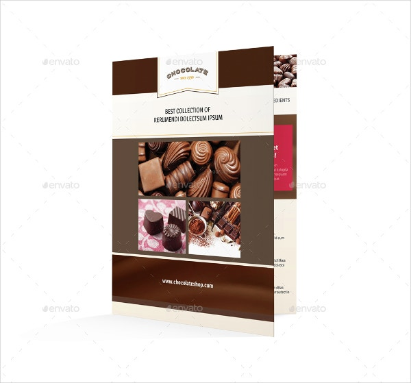 chocolate shop half fold brochure