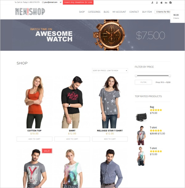 New Shop eCommerce WordPress Website Theme $49